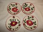 4 Vintage Blue Ridge Pottery Red Mountain Glory Pattern Salad Soup Cereal Bowls