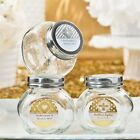 50 Personalized Metallic Foiled Glass Jar Wedding Shower Party Gift Favors