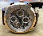 New Perrelet A3007/7 18k Rose Gold Dual Time Automatic Skeleton Dial Watch