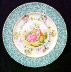 Colonial Couple Teal Gold Iridescent Floral Collector Plate Decorative Japan