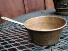 VINTAGE HAND MADE SMALL COPPER COOKING POT W/ BRASS HANDLE