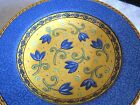 Furio Soup Bowls Rimmed Blue Tulips Yellow Ceramic Italy x3