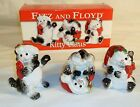 Fitz & Floyd Kitty Claus Christmas Kitten Cat Tumblers Figurines NIB 3 piece