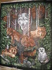 Wood haven Wall hanging  Fabric 2 panels Moose Bear Owl Bunny Wolf Green quilt