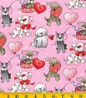Patty Reed Love Pups Valentine Cotton Fabric ~ 44 x 35 remnant