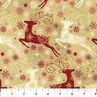 Prancer Reindeer Beige Christmas Stonehenge Quilt Fabric by the 1 2 yd