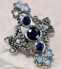 Natural Sapphire & Opal 925 Solid Sterling Silver Art Deco Filigree Ring Sz 6