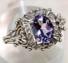 2CT Natural Amethyst 925 Solid Sterling Silver Art Deco Filigree Ring Sz 7