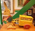 Vintage Italian wooden toy c. 1950  rabbit pulling a chart with failures
