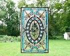 Handcrafted stained glass window panel Dragonfly  Iris Flowers 205 x 34