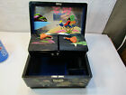 Vintage Black Lacquered Inlaid Wind Up Music Jewelry Box Made in Japan Swan
