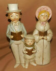 Vintage CHRISTMAS Chalkware Man Woman Child CAROLERS Musicbox 9