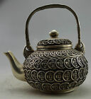 Collectible Decorated Old Handwork Silver Plate Copper Carved coin Tea Pot