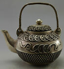 Collectible Decorated Old Handwork Silver Plate Copper Bring Money C0in Tea Pot