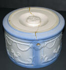 Blue and White Stoneware Butter Crock with Original Lid as is  8