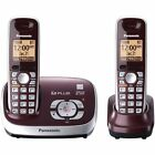Panasonic Cordless Phone With Answering System, Wine Red, 2 Handsets Certified