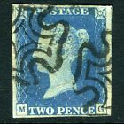 1840 2d Pale Blue MG Plate 1 4 margin example FINE USED V69614