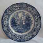 Independence Hall Liberty Blue Plate Hanger Made England Staffordshire Ironstone