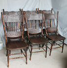 Antique Set of Six Matching Pressed Back Chairs
