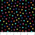 COLORWORKS NORTHCOTT FABRIC BY 1 2 YD MULTICOLOR TRIANGLES ON BLACK 20793 99
