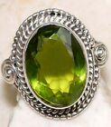 5CT Peridot 925 Solid Genuine Sterling Silver Ring Sz 6
