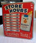 Vintage Viceroy Cigarette Tobacco Advertising Open Closed Store Hours Tin Sign