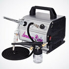 Two Dual Action Airbrush Gun Kit Air Compressor Model Craft Cake Design T Shirt