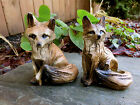 2 FOX FIGURINES resin animal Statue COUNTRYSIDE SMART SLY RED NEW