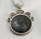 Antique Victorian Round Black ONYX INTAGLIO Watch FOB PENDANT Gold Filled GF/RGP