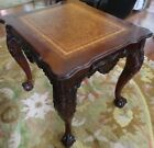 CLAW FOOT END TABLE W/LEATHER TOP