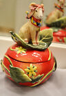 FITZ & FLOYD CLASSICS COUNTRY CHIC RED, HANDCRAFTED GOAT FIGURINE BOWL WITH TOP
