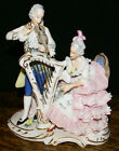 Sandizell Hoffner Dresden Lace Figurine * Man and Woman Playing Harp