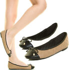 New Women Quilted Slip On Ballerina Ballet Flat Black Cap Round Toe Bow Tie Knot