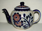 SALT GLAZED STONEWARE POTTERY TEAPOT W/LID MADE IN GERMANY COBALT BLUE
