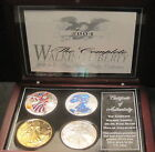 4 2004 American Silver Eagle Collection Beautifully Mixed Brown Wooden Box