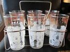 Set of 6 VTG  Anchor Hocking Tumblers Glasses with Carrier - Coffee Motif!