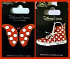 Disney Parks 2 Pin Lot Minnie Mouse butterfly bow + Minnie sneaker shoe
