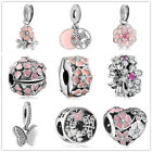 2018 Fashion 925 CZ Charm Beads Fit Zircon Rose Flower Pendant Necklace Bracelet