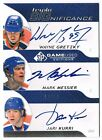 2008-09 SP GAME-USED TRIPLE SIGNIFICANCE AUTO WAYNE GRETZKY MESSIER KURRI 10 10