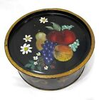 Flowers Tole Painted Round Metal Tin With Lid