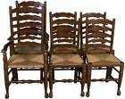 Vintage Antique Style Set of Six Oak Ladder Back Rush Seat Dining Room Chairs