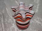 Tall Striped Scalloped Glass Vase Hand Blown Unique Design Flowers NEW