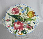 Old Hand Painted Italy Italian Large Flowers Round Handled Serving Tray Plate