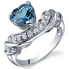 Heart Shape 125 cts London Blue Topaz CZ Ring Sterling Silver Sizes 5 to 9