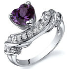 Heart Shape 175 cts Alexandrite CZ Ring Sterling Silver Sizes 5 to 9