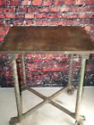Antique Cast Iron Turtle Top Table Industrial Base Legs Casters Steampunk