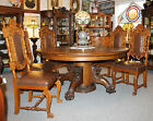 Formal Sturdy Antique Oak Matching Chairs set of Eight - Cushion Seats Fancy