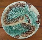 Antique Majolica Begonia Flower Leaf Plate Raised Design in Brown Green Yellow
