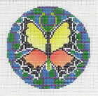 Stain Glass Butterfly 3 Rd handpainted Needlepoint Canvas Ornament by LEE