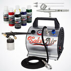 NEW 2 Airbrush  Air Compressor Kit 6 Primary Createx Colors Hobby T Shirt Model